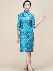 Lake blue embroider tai silk cheongsam
