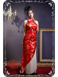 Red plum brocade sleeves qipao SMS73
