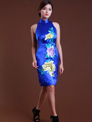 Sapphire blue embroidery dress