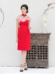 Red modern cheongsam