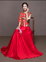 Red golden dragon-phoenix brocade blouse and pure red skirt