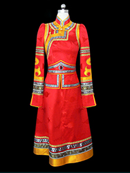 Red high collar mongolia dress