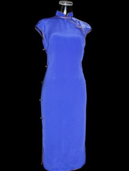 Blue silk with painted cheongsam dress sqh36