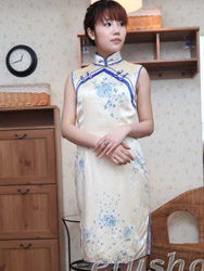 Ivory pure silk with handpainted cheongsam dress SQH37