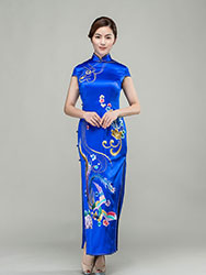 Sapphire blue silk cheongsam with colorful phoenix