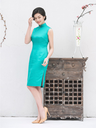 Blue Summer cheongsam dress