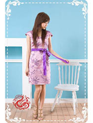 Purple plum brocade drag sleeve qipao SMS92