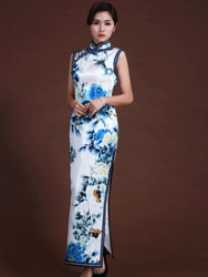 white satin with bule flower long cheongsam