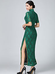 Green lace cheongsam