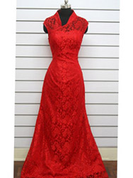 Red A-line flowery pattern lace dress