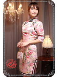 Pink peony brocade modern cheongsam dress SMS69