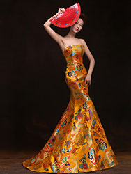 Orient golden evening gown