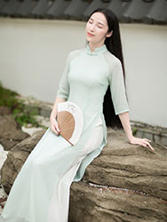 Baby-green long chinese tea dress