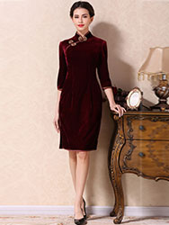 Wine red velvet short qipao dress