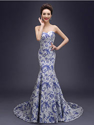 White evening gown with chinese phoenix tail flowers