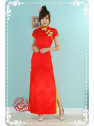 Red brocade short sleeves qipao SMS70