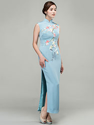 Grey-blue silk with plum-blossom embroidery qipao dress