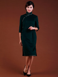 Dark green wool cheongsam