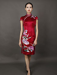 Wine red short  embroidery cheongsam