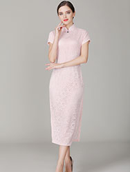 Thin pink lace qipao dress