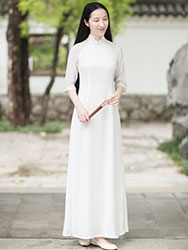 White long chinese tea dress