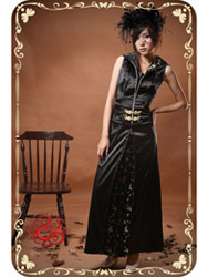 Black modern cheongsam dress SMS61