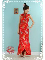 Red mum with peony brocade dress
