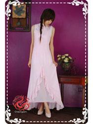 Pink chiffon modern cheongsam dress SMS65