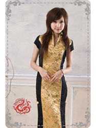 Black with golden brocade cheongsam SMS77