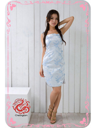 Light blue plum brocade spasghetti straps dress SMS49