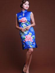 Blue short cheongsam dress