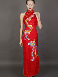 Red chinese wedding dress with dragon and phoenix