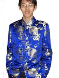 Royal blue with golden dragon silk men's jacket CCM39