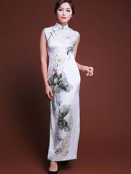 Handpainted lotus flowers silk cheongsam