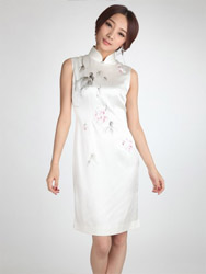 Ivory silk painted qipao dress SQH46