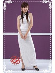 Ivory jacquard cheongsam dress SMS40