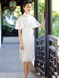 Petal sleeves white lace cheongsam dress