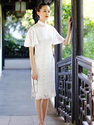 Petal sleeves white lace cheongsam dress