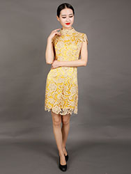Golden-yellow lace cheongsam dress