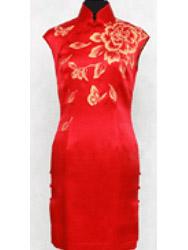 Red silk painted cheongsam dress SQH42