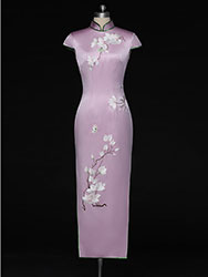 Light purple dress with magnolia embroidery
