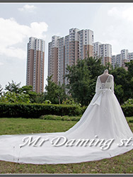 Long tail white wedding love dress