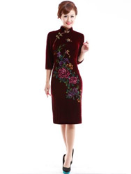 Dark red velour painted qipao SQH48