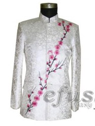 white chinese embroidered men's jacket