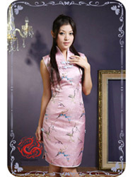 Pink plum brocade modern cheongsam dress SMS34