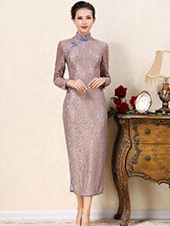 Grey-purple lace cheongsam dress