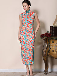 Peacock tail pattern chiffon cheongsam dress