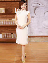 White Special Silk Qipao SCS03