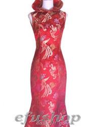 Red dragon and phoenix mermaid cheongsam dress SCT181