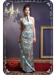 Light blue modern cheongsam dress SMS38